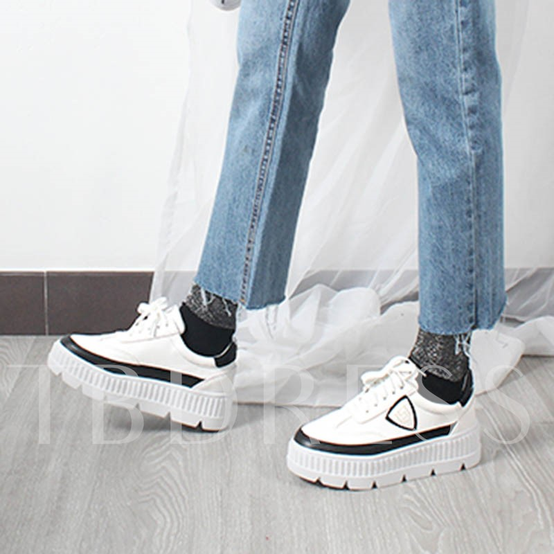 Platform Skidproof Lace Up Women's White Sneakers