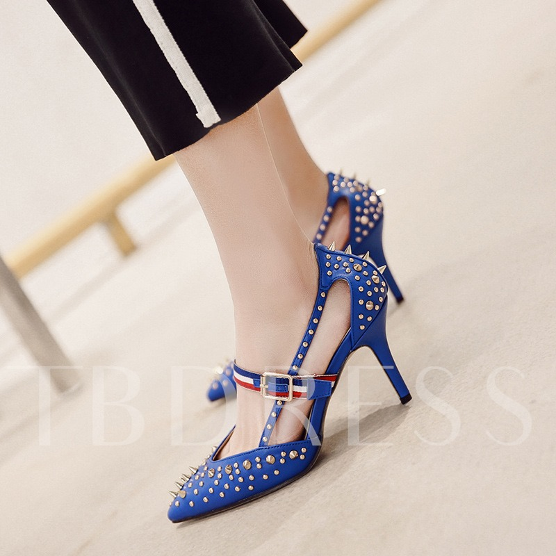 Color Block Rivet Buckle Punk Pumps Shoes for Women