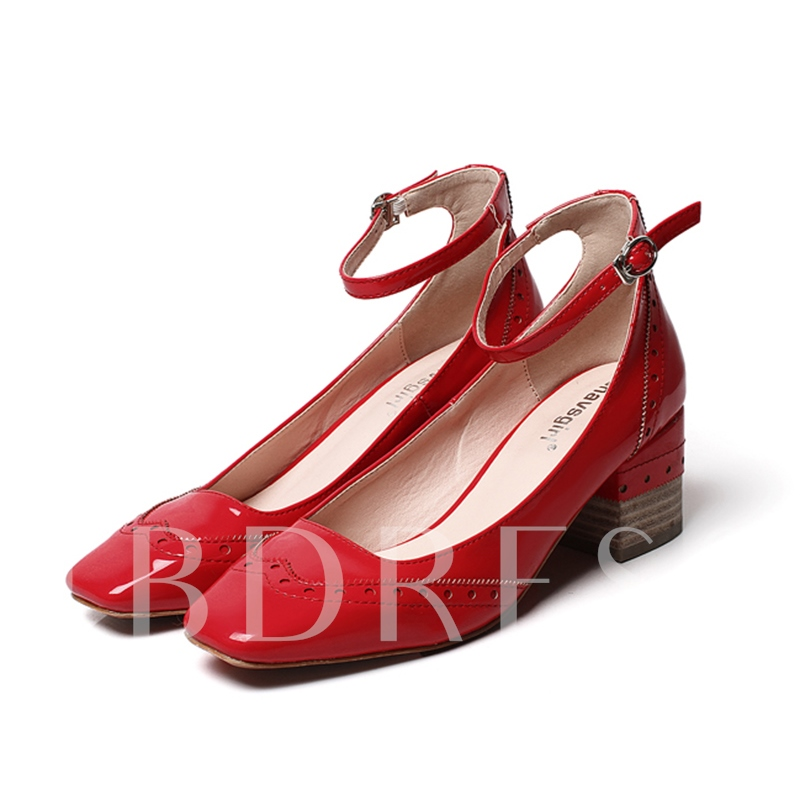 Buy Line Buckle Square Toe Chunky Heel Women's Pumps Shoes, Spring,Summer,Fall, 13138523 for $27.99 in TBDress store