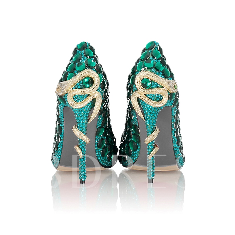 Kelly Green Rhinestone Artificial Leather Women's Dress Shoes
