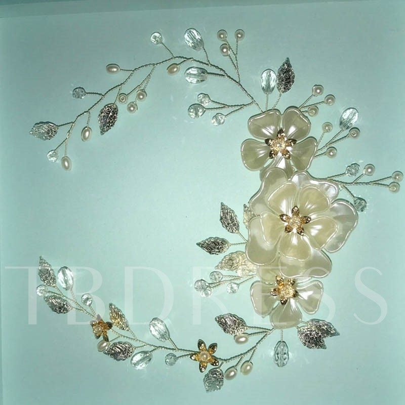 Overgild Leaf Flower Rhinestone Hair Accessories