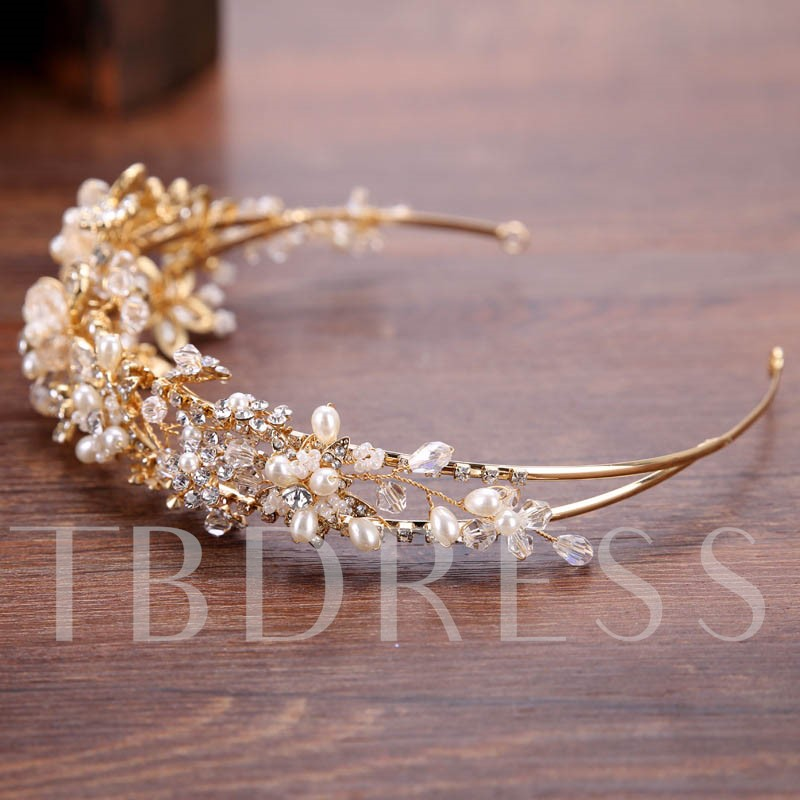 Handmade Imitation Pearl Rhinestone Crown Hair Accessories