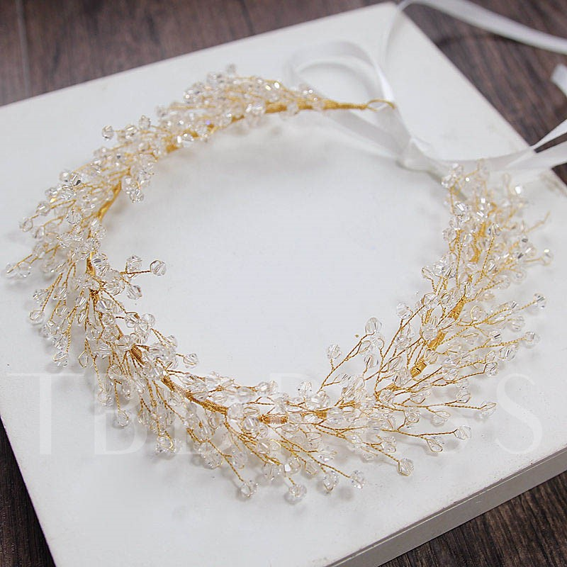Transparent Alloy Overgild Rhinestone Hair Accessories