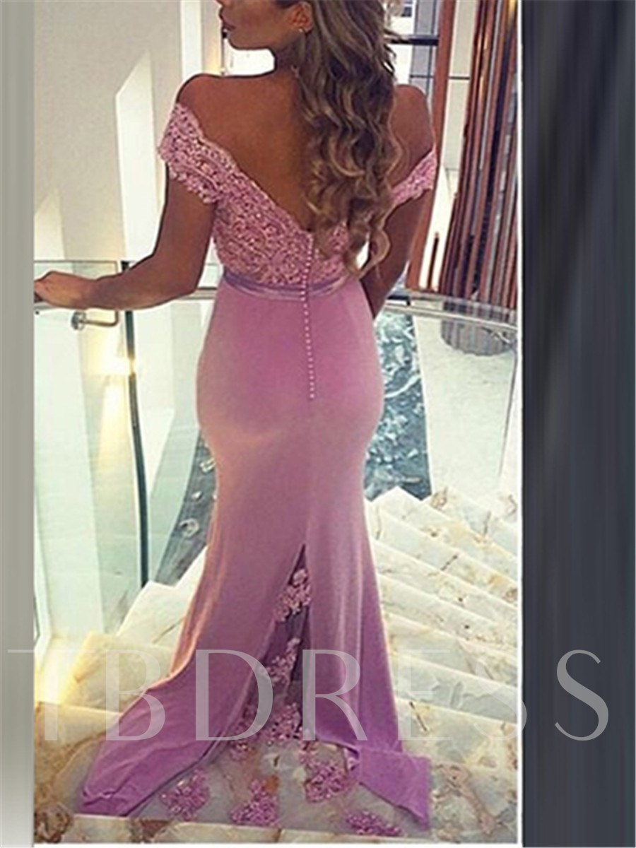 Off-the-Shoulder Lace Button Sashes Evening Dress 11643346