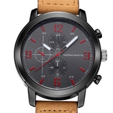 Three Eye Table Quartz Artificial Leather Strap Men's Watches
