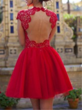 Cap Sleeve Lace Open Back Cocktail Dress