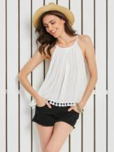 Tassel Patchwork Sleeveless Vacation Women's Blouse