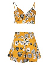 Floral Print Backless Lace-Up Women's Two Piece Set