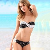 Cute Polka Dots Color Block Bikini Set