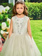 Beaded Lace Flowers Girls Party Dress
