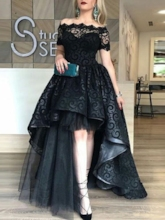 Off-the-Shoulder Short Sleeves Lace Halloween Evening Dress