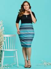 Square Neck Half Sleeve Plus Size Women's Bodycon Dress