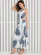Plant Print Hollow Halter Vacation Women's A-Line Dress