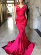 Mermaid Off-the-Shoulder Pleats Long Evening Gowns
