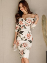 Off Shoulder White Printing Women's Bodycon Dress