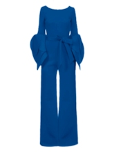 Plain Backless Falbala Lace-Up Women's Jumpsuits