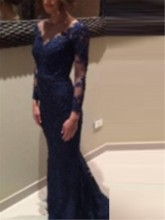 Mermaid Button Lace Long Sleeves Evening Dress