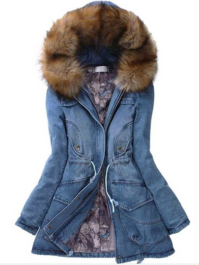 Faux Fur Hooded Slim Long Denim Jacket Women's Overcoat