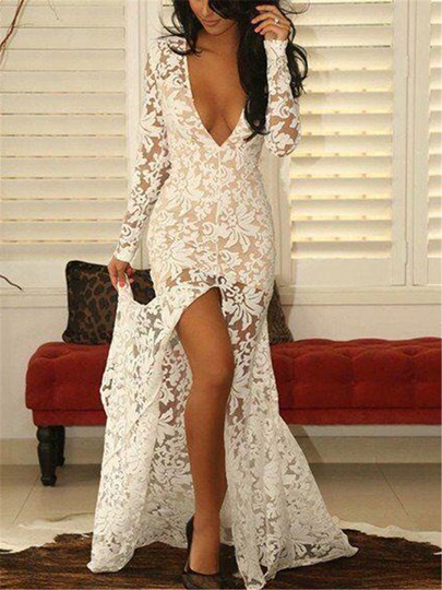 Deep V-Neck Front-Split Lace Evening Dress