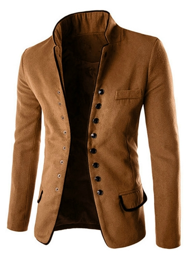 Stand Collar Single-Breasted Woolen Slim Men's Blazer