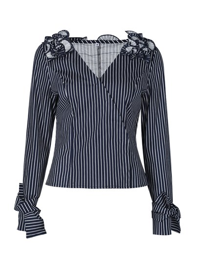 V-Neck Stripe Patchwork Pleated Women's Blouse