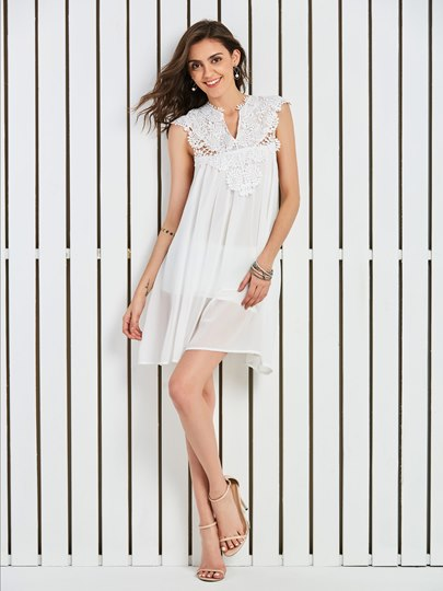 V-Neck Lace Patchwork Vacation Women's Day Dress