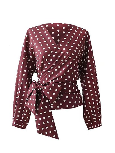 Polka Dot Self Belted Wrap Top Women's Blouse
