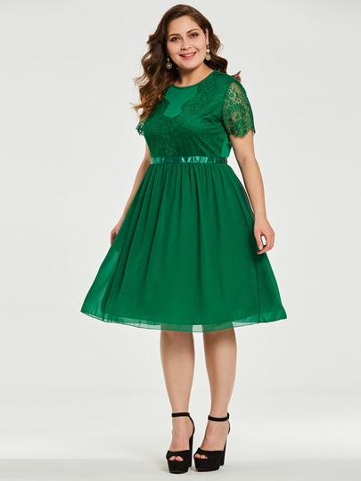 Green Lace Patchwork Plus Size Women's Day Dress