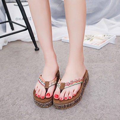 Thong Platform Weave Women's Vacation Slippers
