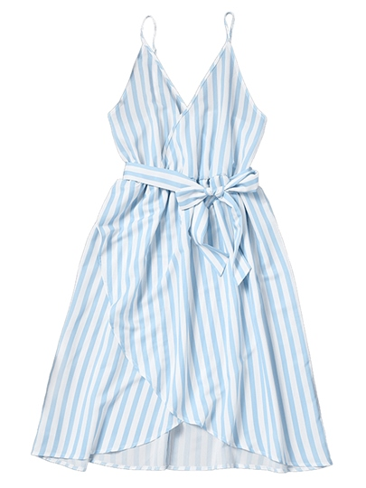 Spaghetti Straps Striped Blue Women's Day Dress