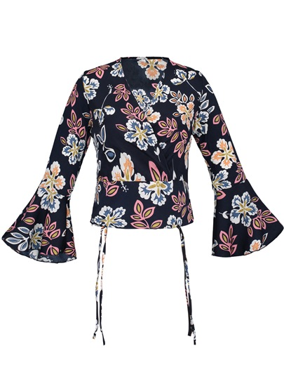 Color Block Vacation Floral Pullover Women's Blouse