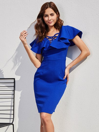 V-Neck Ruffle Sleeve Women's Bodycon Dress