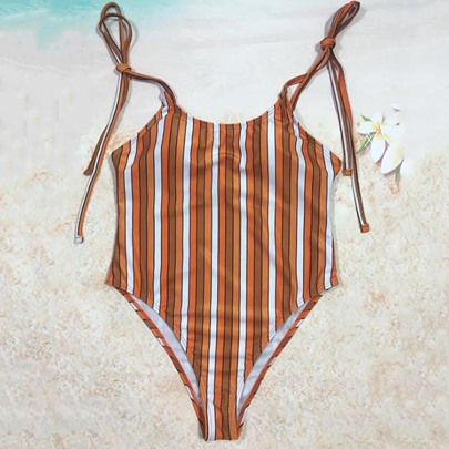 Lace-Up Print One-Piece Swimsuit