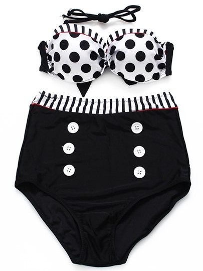 Polka Dots High Waisted Swimsuit Patchwork Bikini Set (Black M Sold Out)