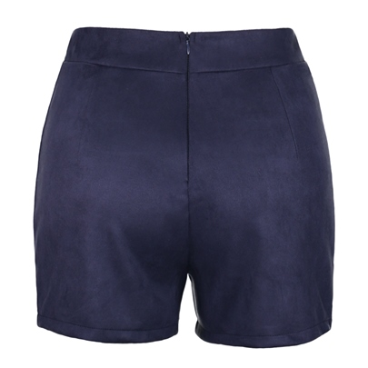 Plain Lace-Up Slim Fit Women's Shorts