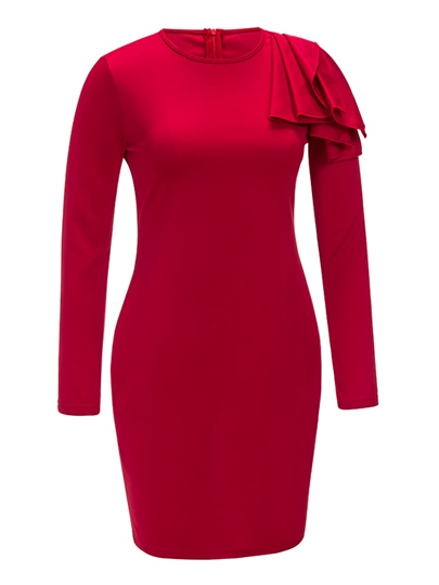 Red Long Sleeve Falbala Women's Bodycon Dress