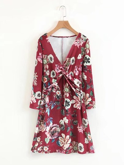 Red Floral Women's Day Dress