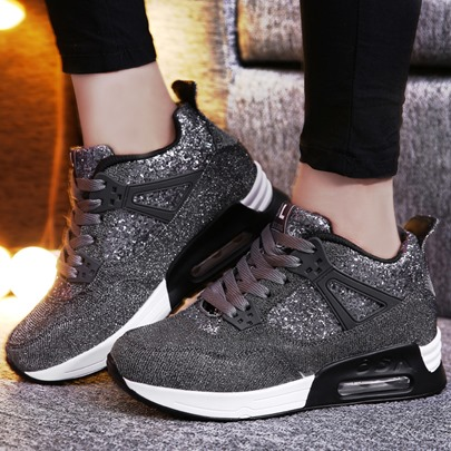 Glitter Lace Up Height Increse Women's Sneakers