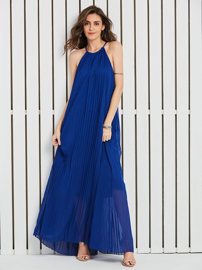 Royal Strappy Pleated Women's Maxi Dress