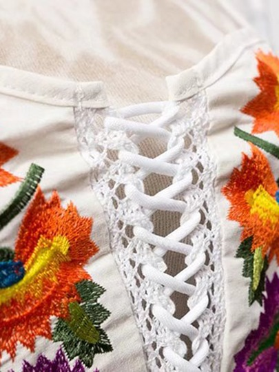 Sexy Crisscross Floral Embroidery Women's Tank Top