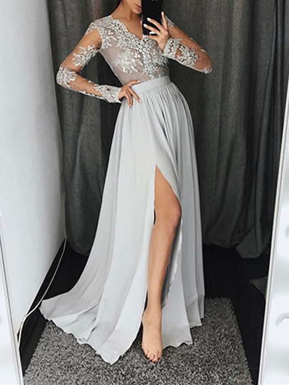 A-Line Appliques Sashes Split-Front Evening Dress