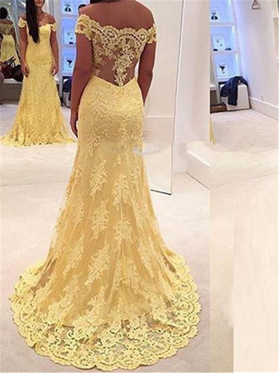 Lace Off-the-Shoulder Trumpet Court Train Evening Dress