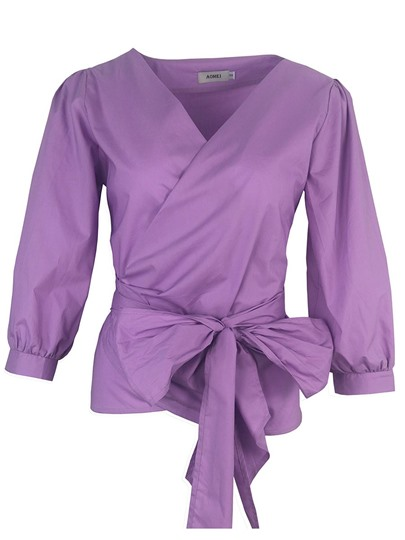 Lace-Up Three-Quarter Sleeve Women's Blouse With Bow