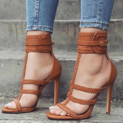 Weave Strappy Buckle Heel Covering Brown Heels for Women