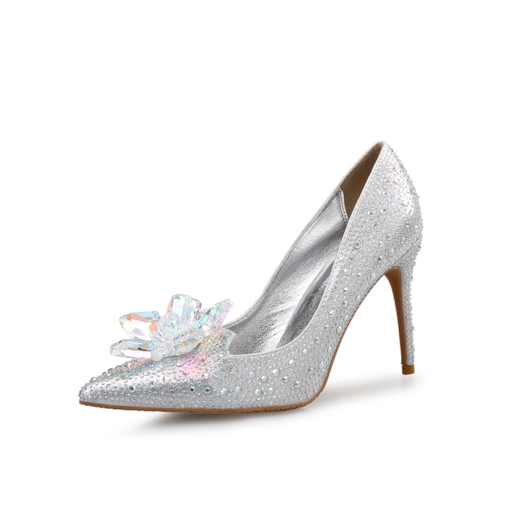 Rhinestone Stiletto Heel Slip-On Pointed Toe Wedding Shoes