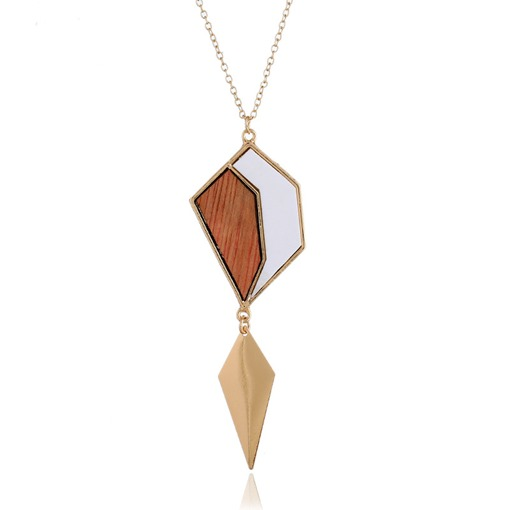 Irregular Wood Long Chain Necklace