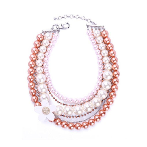 Flower Synthetic Pearl Multilayer Necklace
