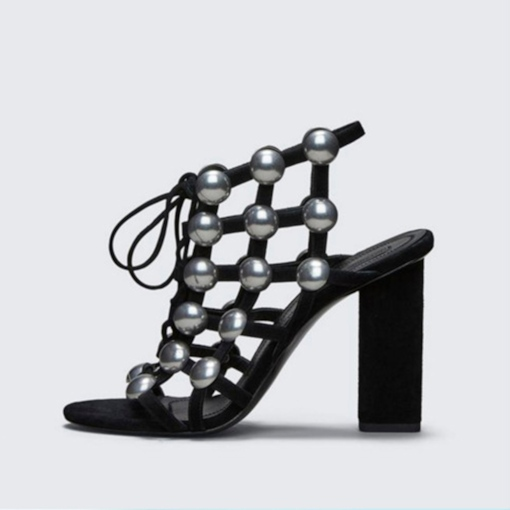 Lace Up Beads Black Cage Sandals for Women