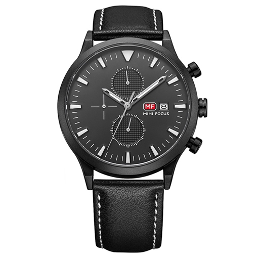 Two Eye Table Artificial Leather Strap Men's Watches