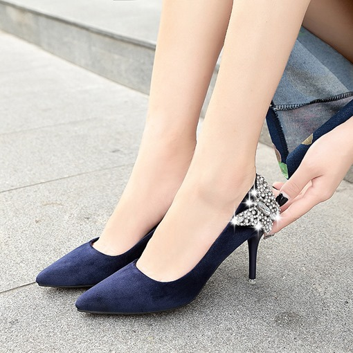 Pointed Toe Suede Butterfly Women's High Heels Shoes